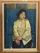 Keith Johnson, Portrait of a lady, oil on board, signed lower left, 59 x 42cm, together with three