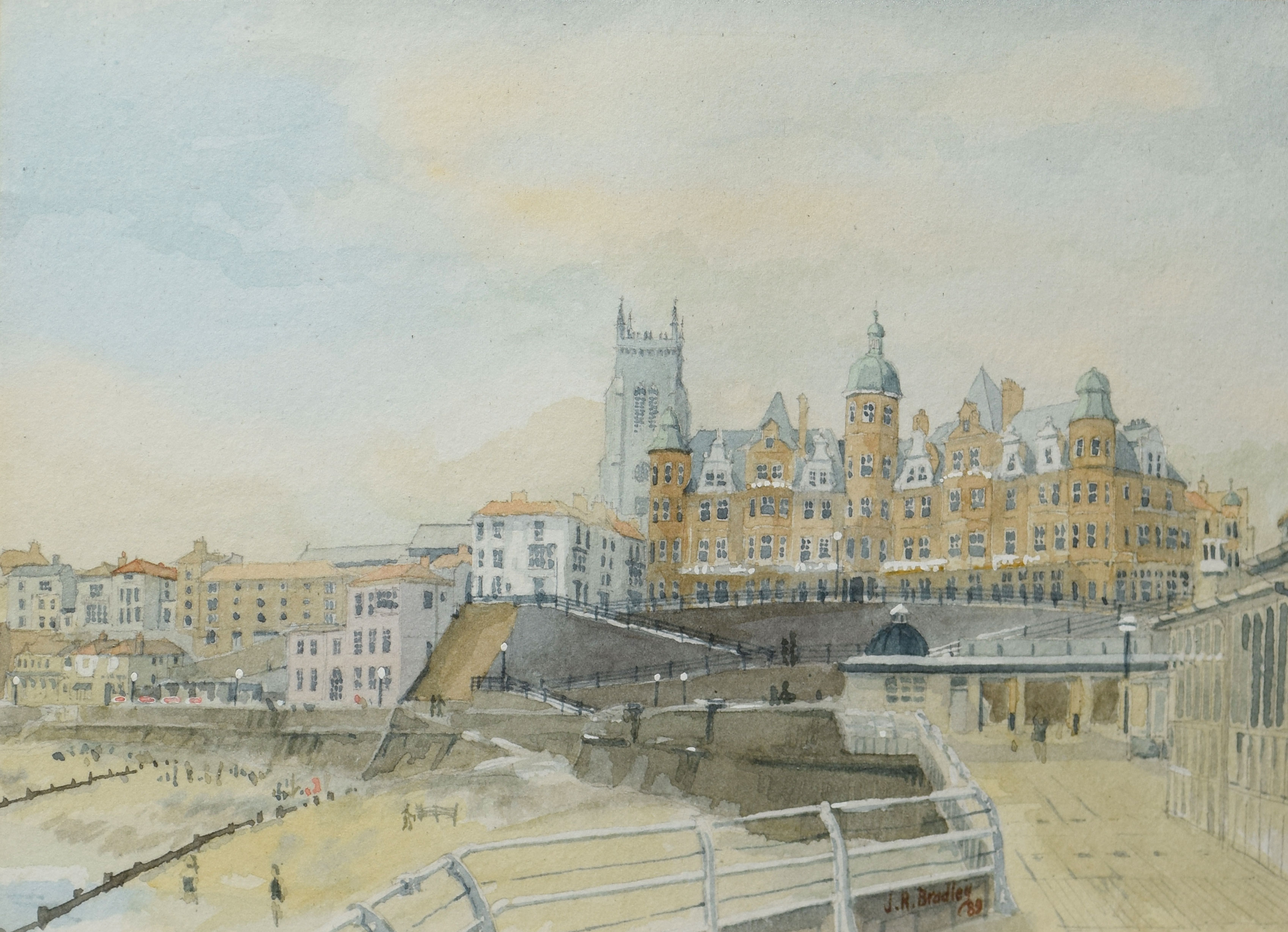 J R Bradley, Cromer, watercolour, signed and dated 89 lower right, 17 x 24cm