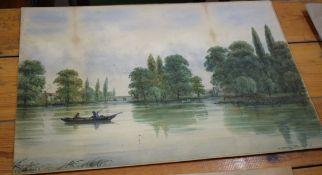 James Stuart Campbell McEwan Brown (1870-1949) River Scene, two watercolours, signed lower left,