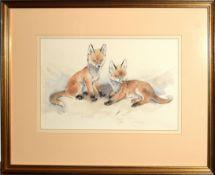 English School (20th century), Fox cubs, watercolour, 22 x 33cm