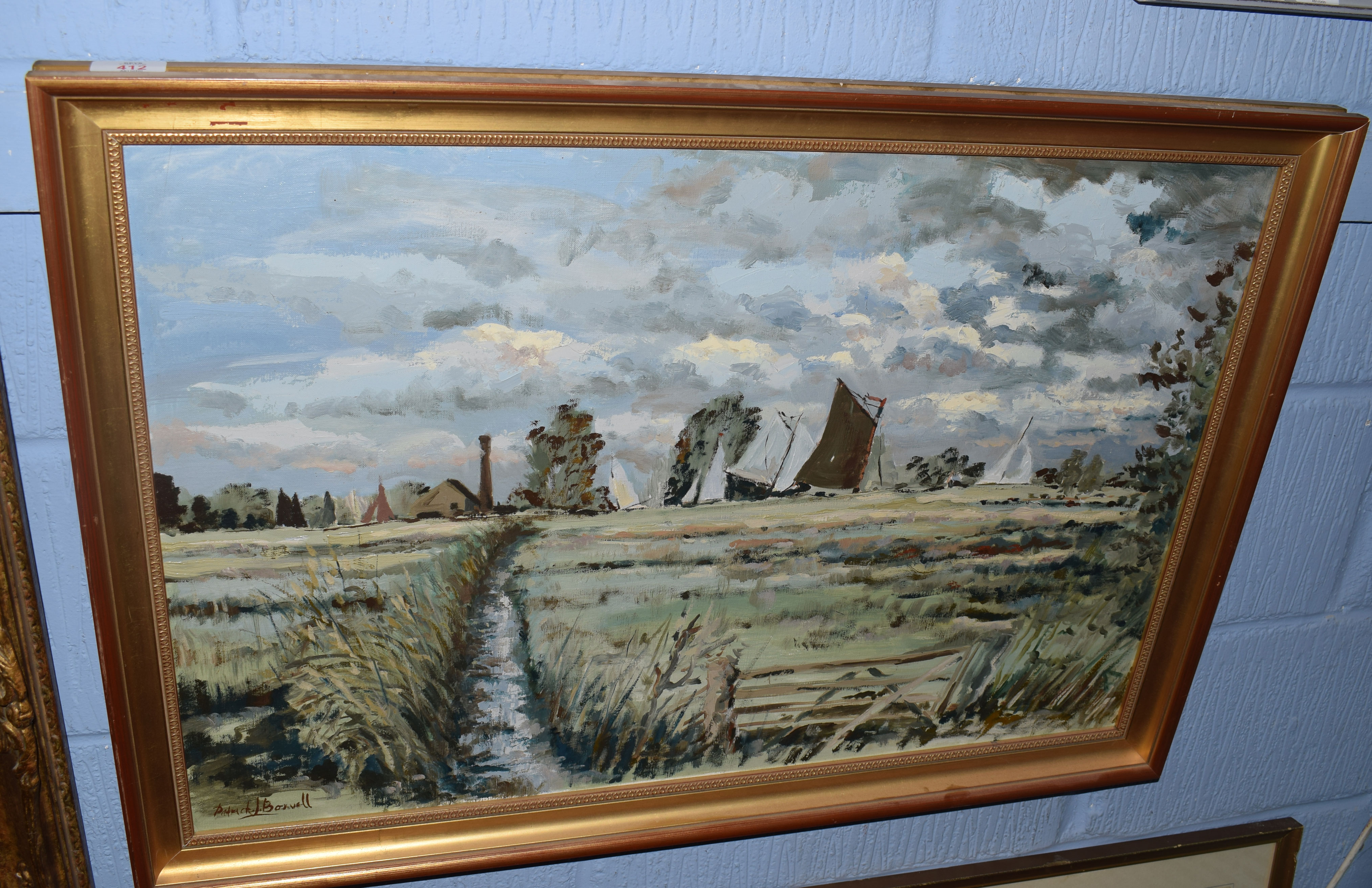 Patrick J Boswell (born 1942) Broadland scene with wherries, oil on canvas, signed lower left, 50