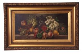 Attributed to Vincent Clare (1855-1930), Still Life study of mixed fruit, flowers and birds nest on