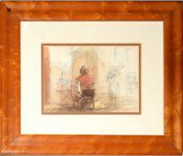 English School (19th Century), Figures and market, watercolour, 11 x 16cm