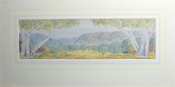 Basil Rantzi, Australian landscape, watercolour, signed lower right, 14 x 50cm