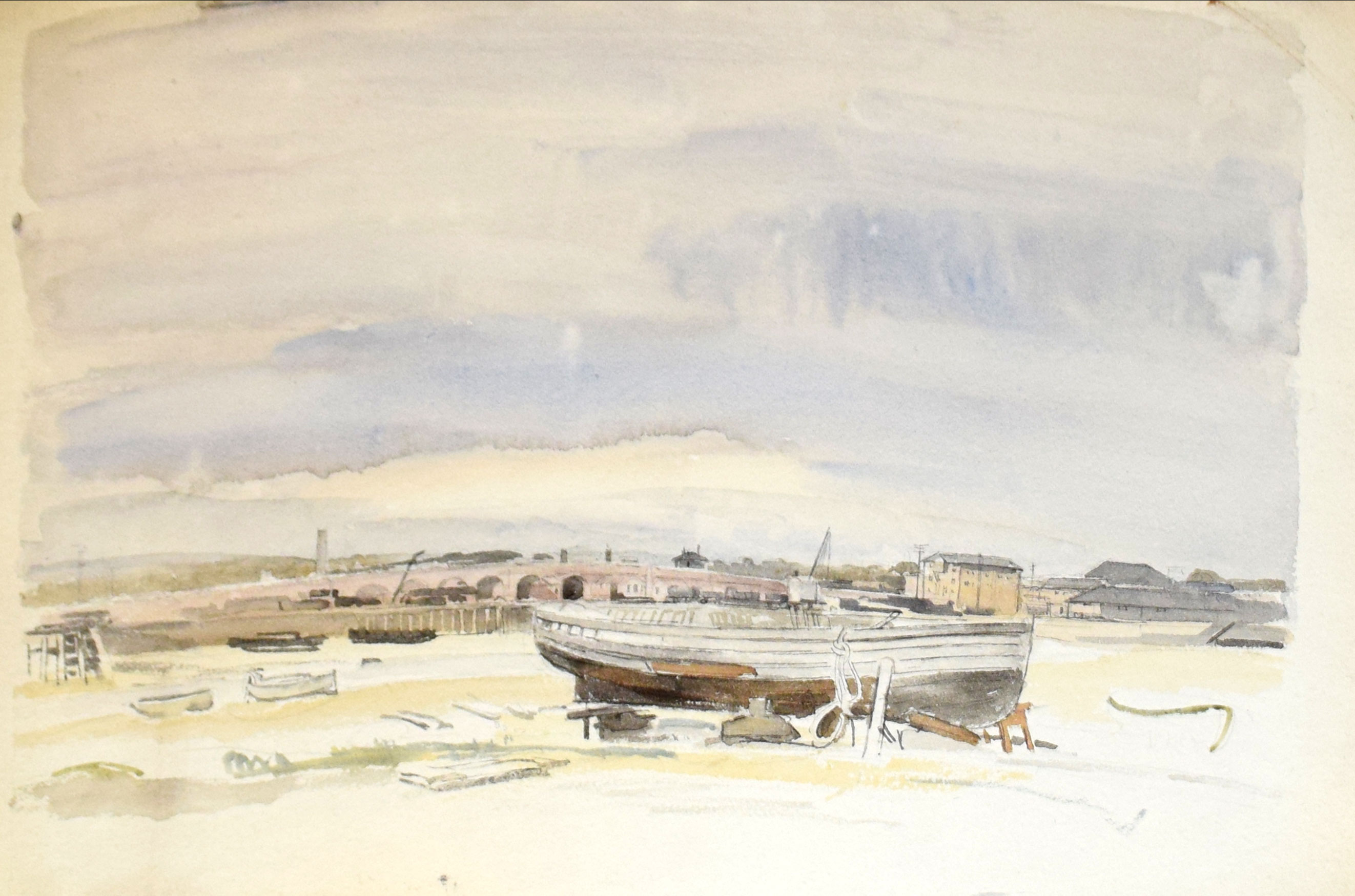 "Sir Walter Westley Russell, RA, RWS, ""Shoreham, Sussex"", watercolour, signed lower left, 25 x - Image 2 of 3"