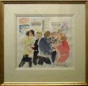 """Polly Hanscombe, """"Media party (Barclays, Soho Square), Xmas 91"""", watercolour, 34 x 37cm"""