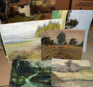 Keith Johnson, Landscapes etc, group of 13 oils on board, some signed or initialled, assorted sizes,