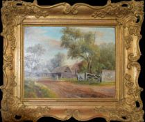 Charles F Rump, Norfolk Farmstead, oil on board, signed lower left, 24 x 32cm