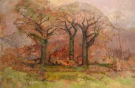 Keith Johnson, Extensive landscape, oil on canvas, signed lower right, 102 x 153cm, unframed