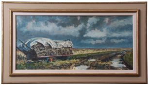 Paul Robinson (contemporary), Norfolk landscape with wood cart, oil on canvas, signed lower left, 34