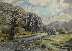 """E J Ribbands, """"River Wensum from Costessey Mill"""", oil on canvas, signed, dated April 1960 verso,"""