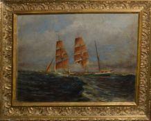 English School (19th/20th century), Three masted vessel at sea, oil on board, 25 x 33cm