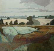 Keith Johnson, Landscape, oil on canvas, 89 x 89cm, unframed