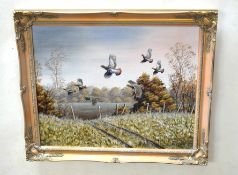 """Mark Chester (contemporary), """"Autumn covey - English Partridges"""", acrylic on canvas, signed lower"""