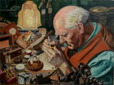 """N L Hall, """"Sam Veale (Newquay Watchmaker)"""", oil on panel, signed lower right, 35 x 46cm, unframed"""