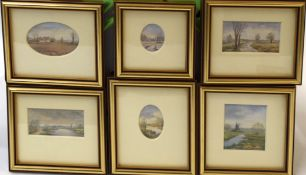 Margaret Carver, Norfolk landscapes, group of six miniature watercolours, all signed, assorted sizes