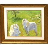 """Alistair Kilburn, """"Ponies and apple blossom"""", oil on canvas, signed lower right, 26 x 34cm"""
