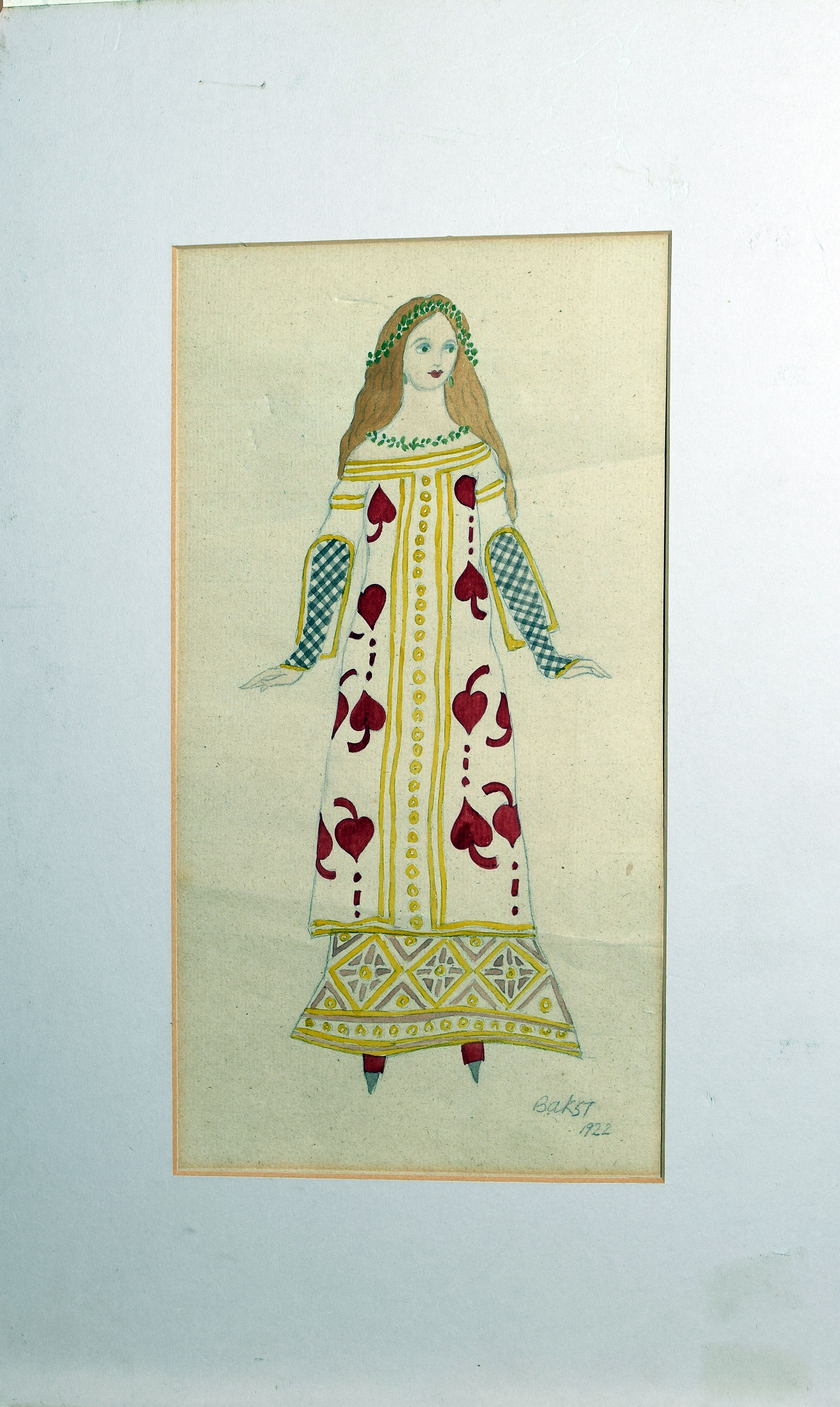 Bakst, Figure in costume, watercolour, signed and dated 1922 lower right, 31 x 16cm, mounted but