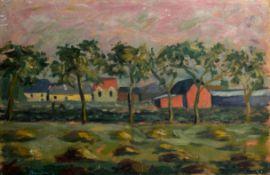 Guy Roddon, French landscape, oil on canvas, signed lower left, 30 x 45cm, unframed