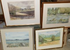 Keith Johnson, Norfolk landscapes etc, group of eight watercolours, all signed, various sizes (8)