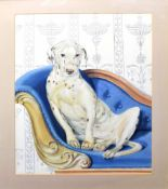 C C Turner, signed watercolour, Dalmatian on a chaise longue, 73 x 54cm