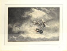 """Attributed to William John Huggins, """"East Indiaman in a storm"""", watercolour, 30 x 44cm"""