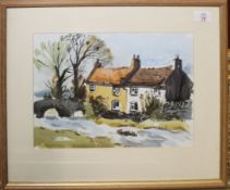 """John Tookey (born 1947) """"Old Cottages, Yorkshire"""", watercolour, see label verso, 25 x 35cm"""