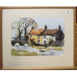 "John Tookey (born 1947) ""Old Cottages, Yorkshire"", watercolour, see label verso, 25 x 35cm"