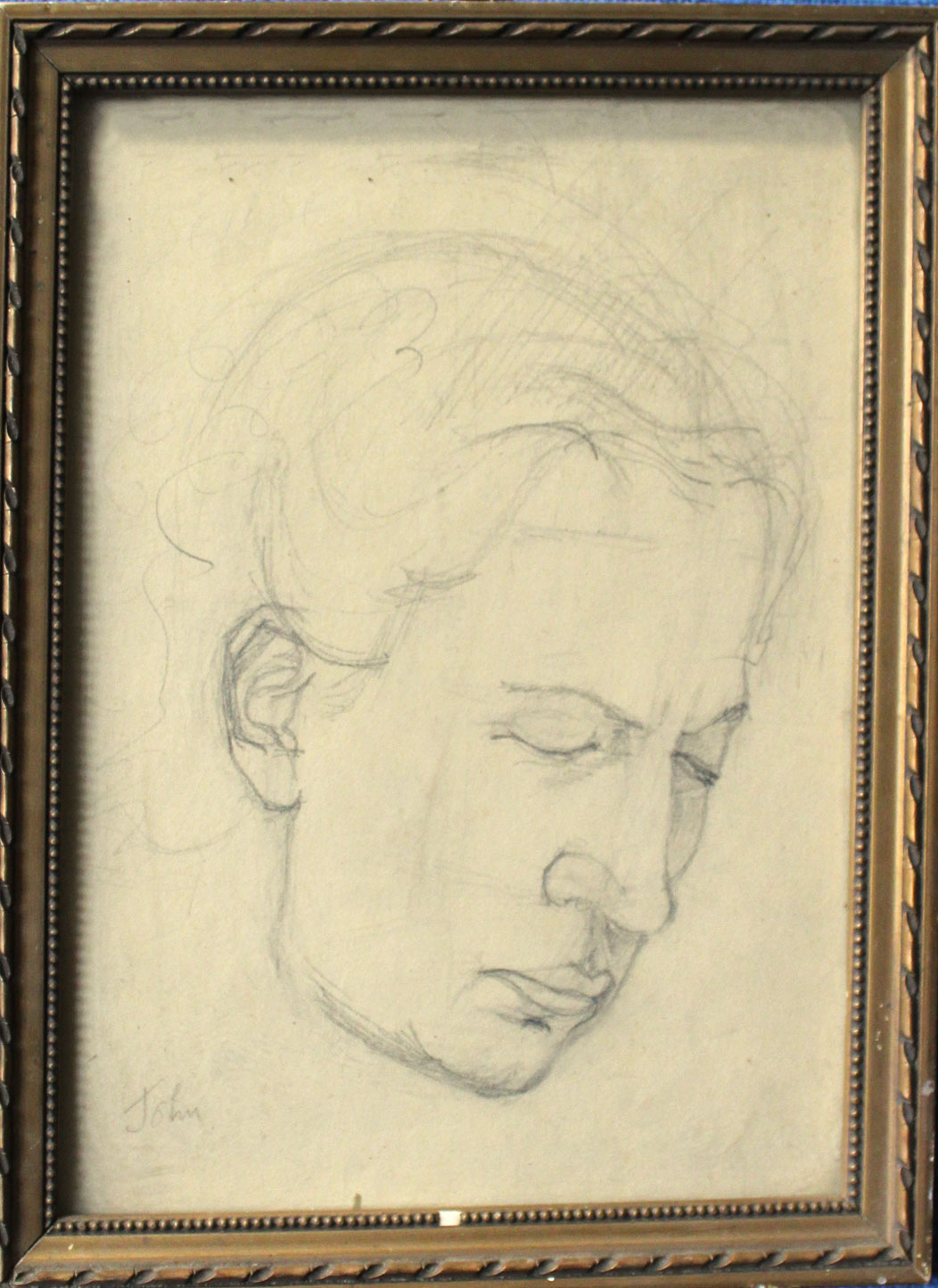 Circle of Augustus John, Head study, pencil drawing, bears signature lower left, 22 x 16cm