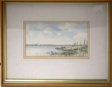 "Jason Partner, ""Near Breydon Water, Norfolk 1988"", watercolour, signed lower right, 13 x 23cm"
