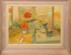 """Keith Johnson, """"Yellow Zinnias"""", oil on board, signed lower right, 35 x 50cm"""