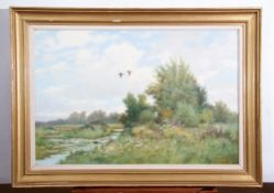 """AR Colin W Burns (born 1944), """"High Summer - Filby"""", oil on canvas, signed lower right, 60 x 90cm"""