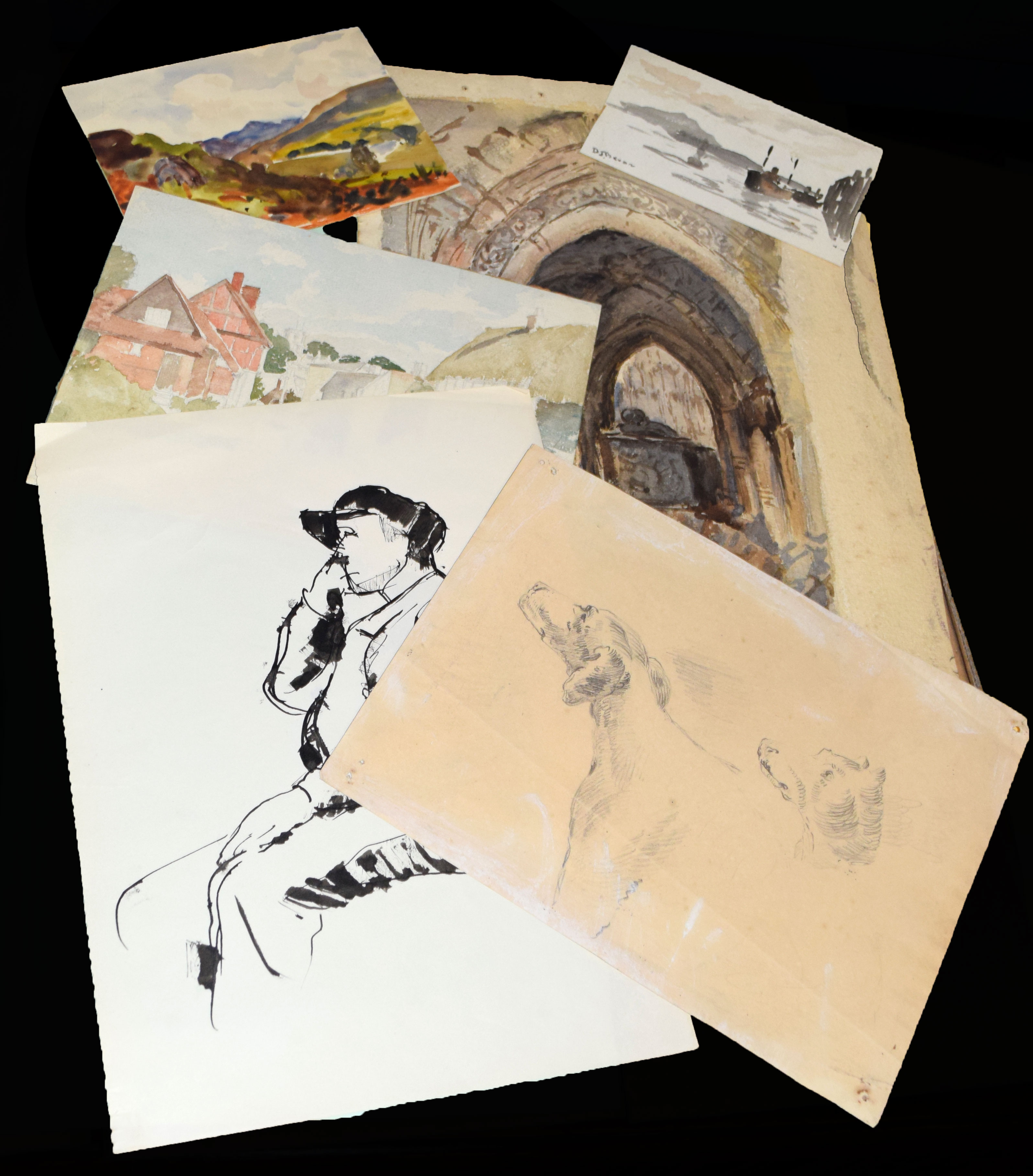Folder of 19 assorted watercolours and drawings - Image 2 of 5