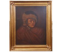 Continental School (19th century), Head and shoulders portrait of a gent wearing fur hat , 90 x