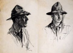 K Ward & R Eadie, Portraits of WW1 officer, two pen and ink drawings on one page, both signed,