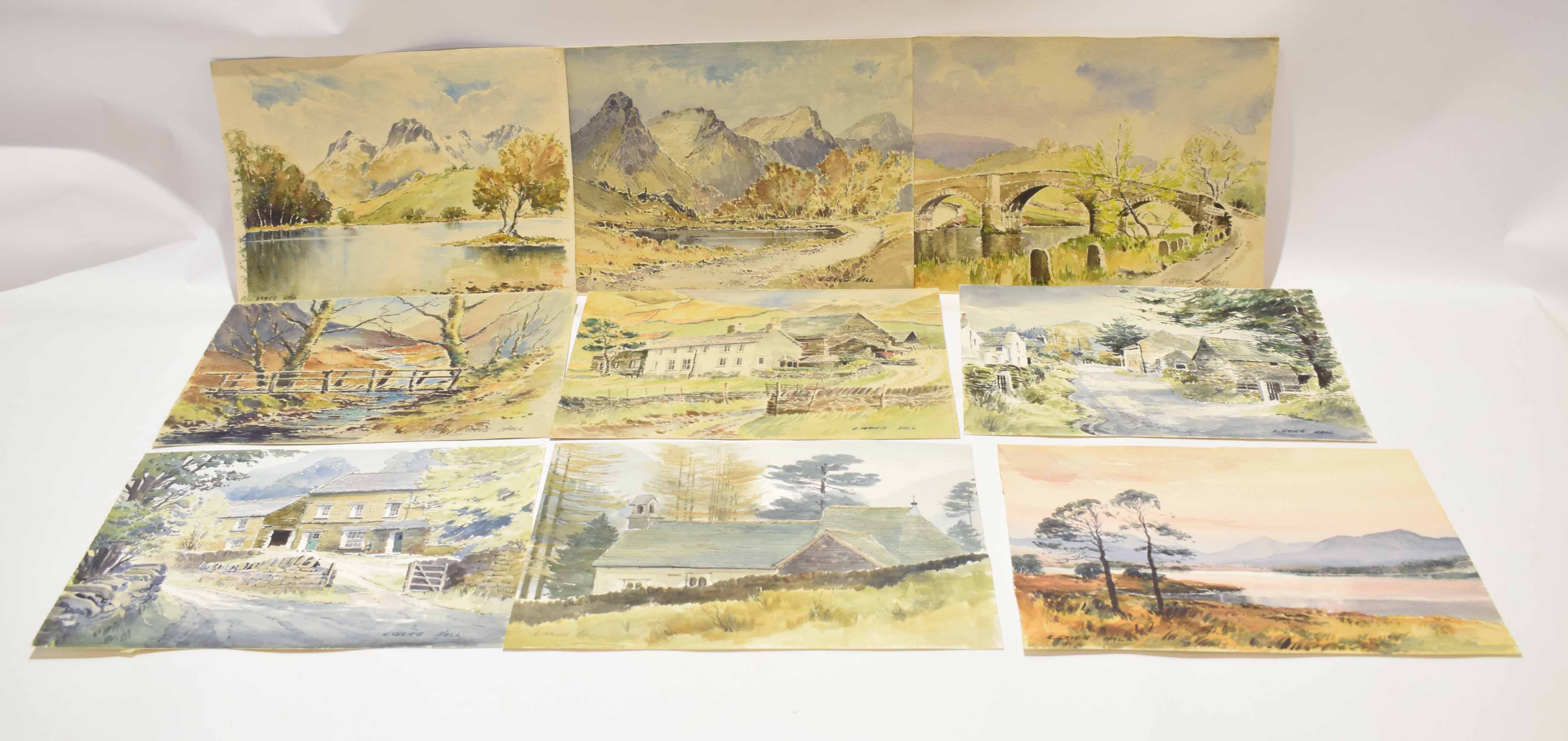 E Greig Hall, two signed watercolours, Anglesey and Red Bank Road, Grasmere, 38 x 51cm, both - Image 2 of 2
