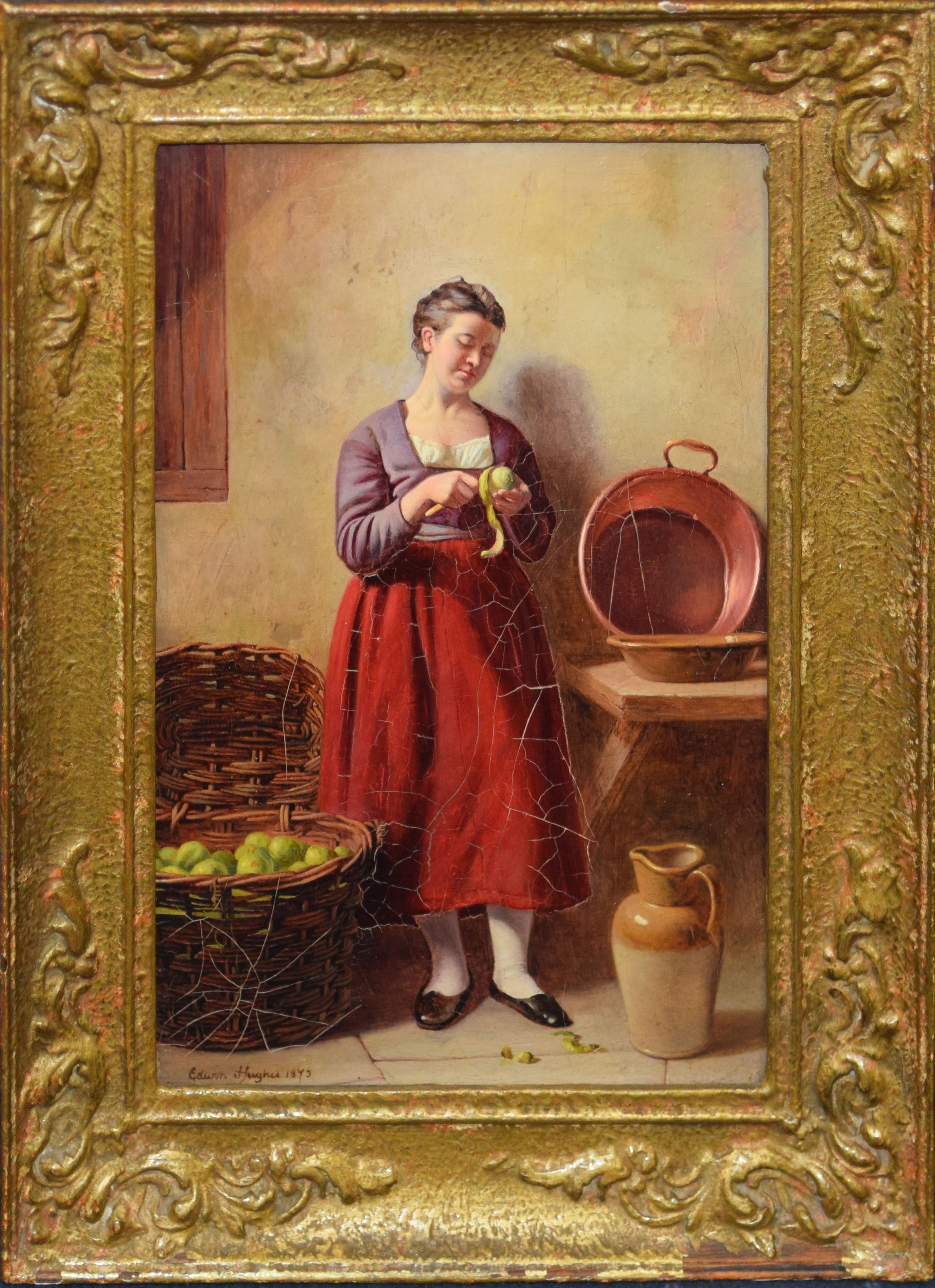 Edwin Hughes, Interior Scene with Lady peeling Apples, oil on board, signed and dated 1873 lower