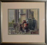 David William Burley, Still Life study of artist's studio, pen, ink and watercolour, 27 x 37cm