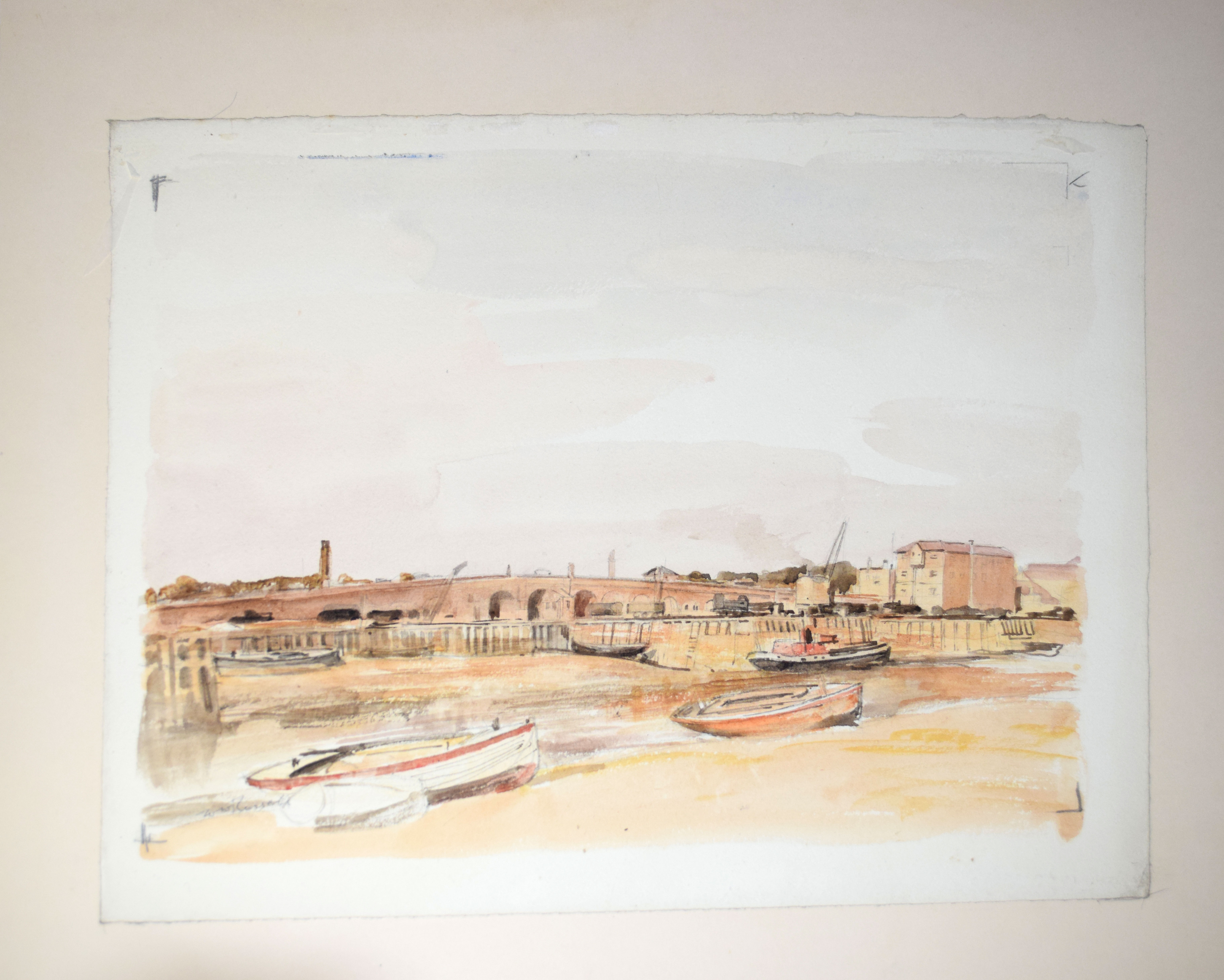 "Sir Walter Westley Russell, RA, RWS, ""Shoreham, Sussex"", watercolour, signed lower left, 25 x"