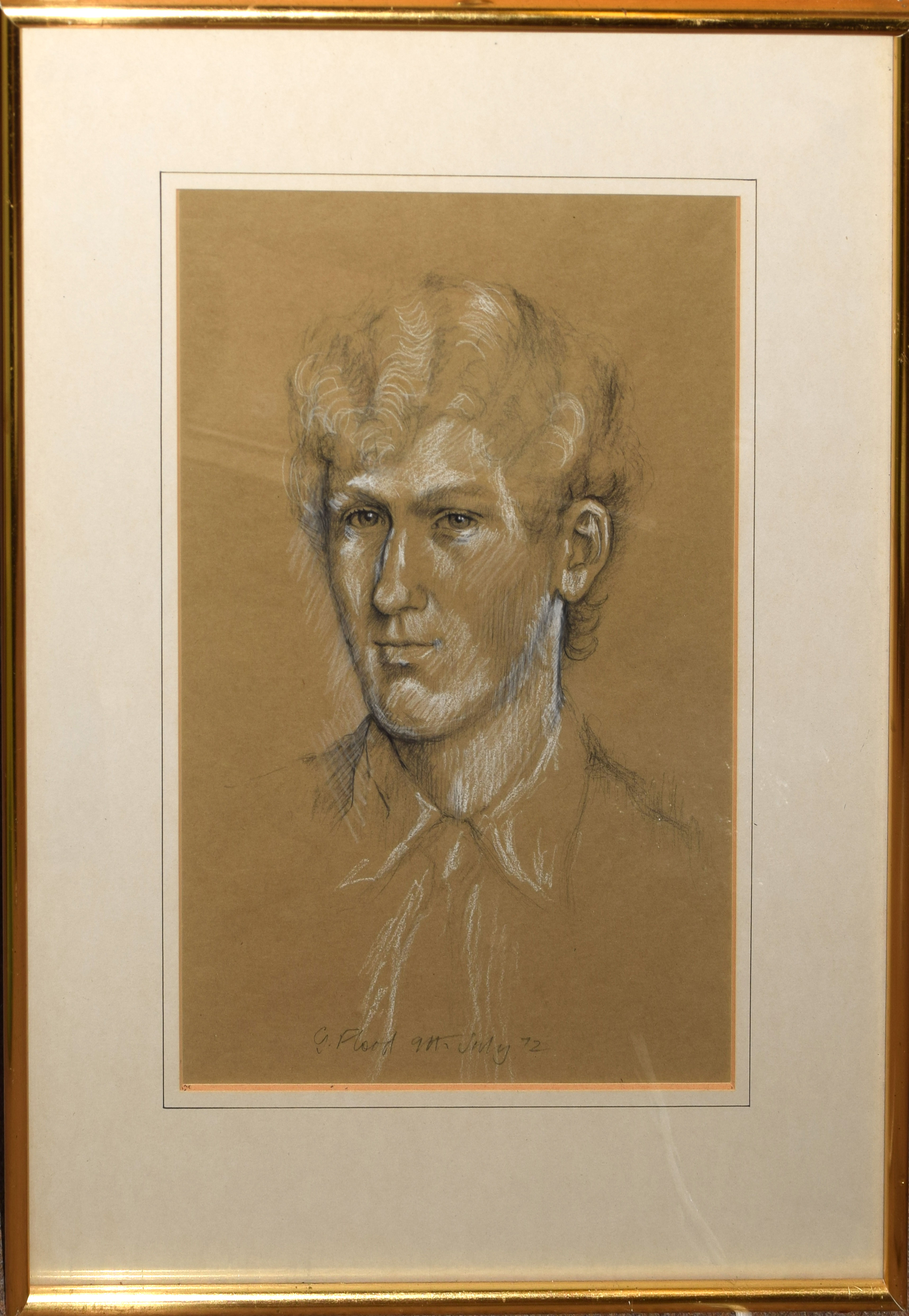 G Flood, Portrait of a man, pastel, signed and dated 9th July 1972, 38 x 25cm