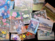 Keith Johnson, Still Life studies, landscapes etc, group of 20 oils on panel/card, some signed,