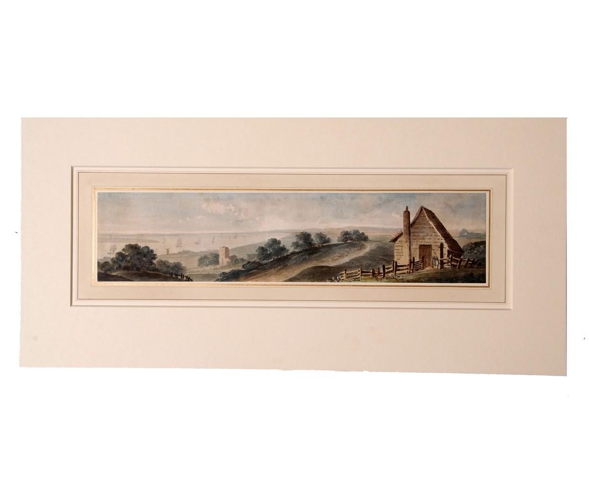 English School (19th century), Coastal landscape, watercolour, 11 x 46cm, mounted but unframed