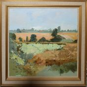 """Keith Johnson, """"Harvest, Rockland"""", oil on canvas, signed lower left, 74 x 74cm in Edward Seago"""