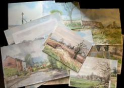 Keith Johnson, Norfolk Lanscapes etc, group of 55 watercolours, some signed and some larger, all