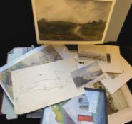 Folder of assorted watercolours etc to include George Sykes