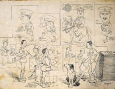 E J Waters, Portraits of WW1 officer caricatures, pen and ink drawing, signed and dated 1918,
