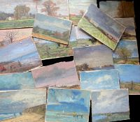 Keith Johnson Norfolk landscapes, beach scenes etc, group of 20 oils on panel/card, some signed,