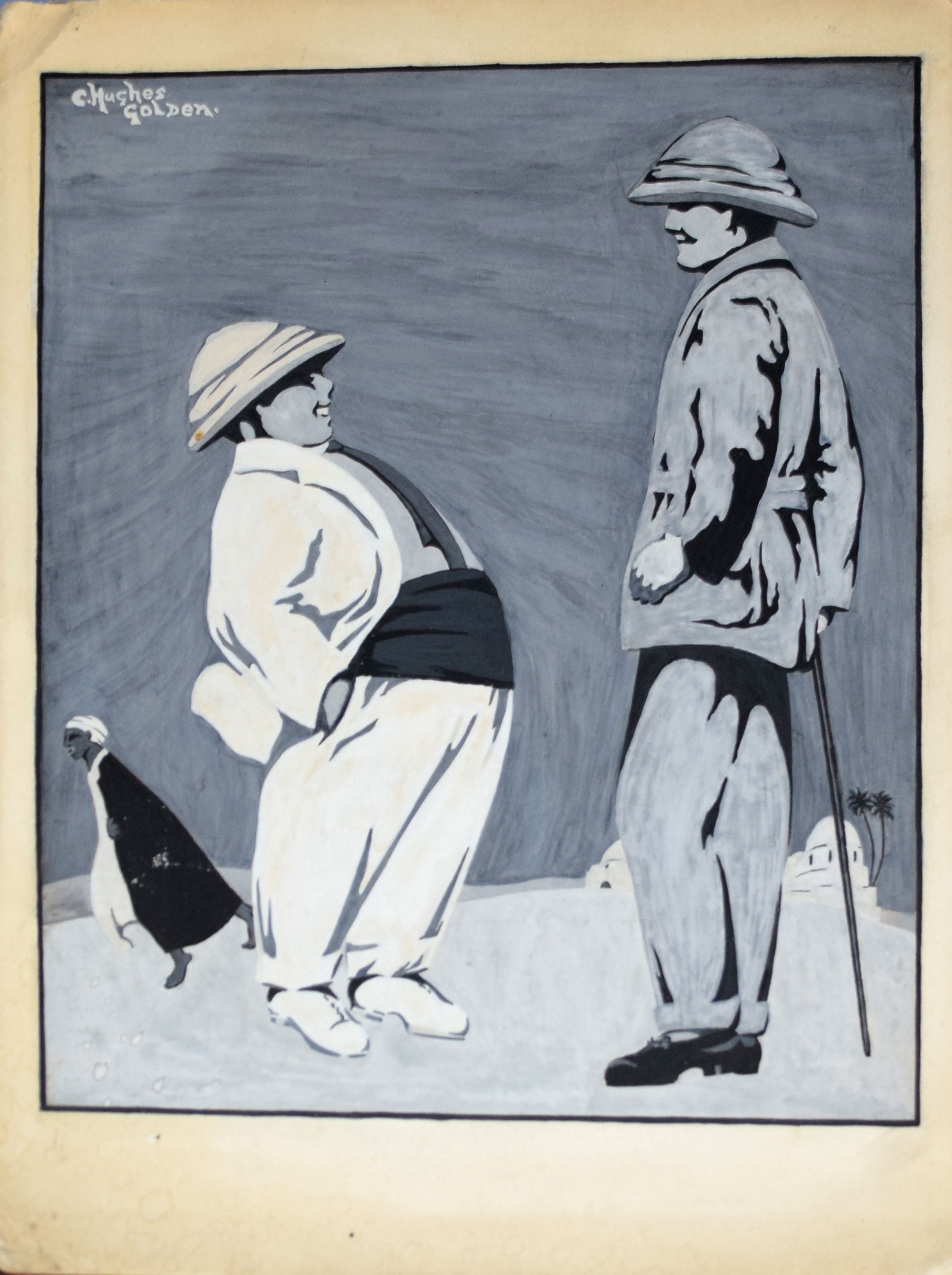 C Hughes Golden, Figure studies, two gouache, both signed, 20 x 27cm and 30 x 24cm, both unframed (