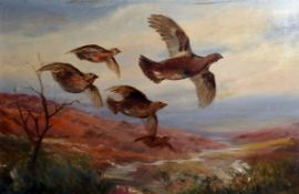 •AR Roland Green (1896-1972) Grouse (in the Highlands) oil on canvas, unsigned 45 x 71cms