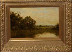 "Circle of David Bates, RCA, ""Epsom Common, Surrey"" and ""Lane near Epsom, Surrey"", pair of oils on"